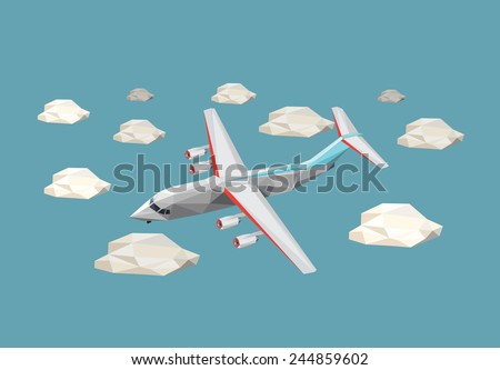 Low polygon plane in the sky with clouds. Vector illustration. - stock vector