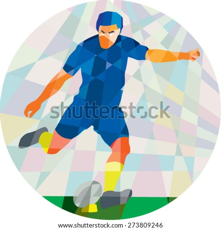 Low polygon style illustration of a rugby player kicking ball front view set inside circle on isolated background. - stock vector