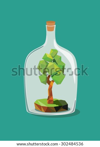Low polygon tree inside a bottle. Vector illustration. - stock vector