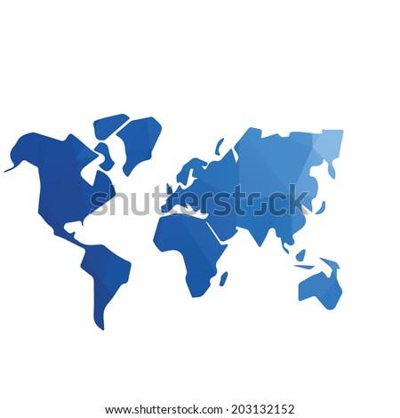 low polygon world map vector,polygon design - stock vector