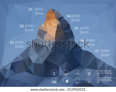 Low polygonal shape mountain background. Line icons for business presentation or report analysis. Eps10 vector illustration. - stock vector