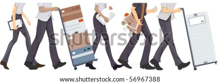 Lower Body of Courier Staff Walking - Vector