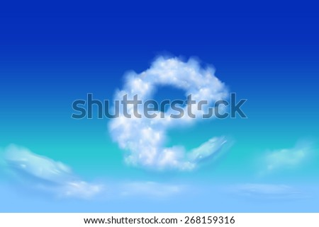 Lowercase Font from the clouds concept.e - stock vector