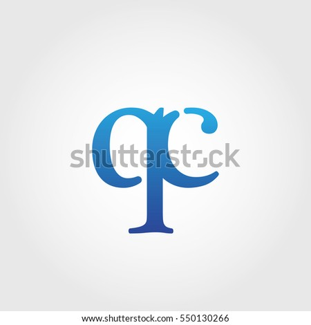 Lowercase qc Logotype. Blue Letter Logo. Letter Abbreviations. Vector Template Element.
