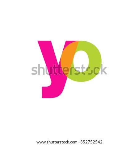lowercase yo logo, pink green overlap transparent logo, modern lifestyle logo - stock vector