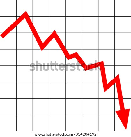 lowering graph with a red arrow - stock vector