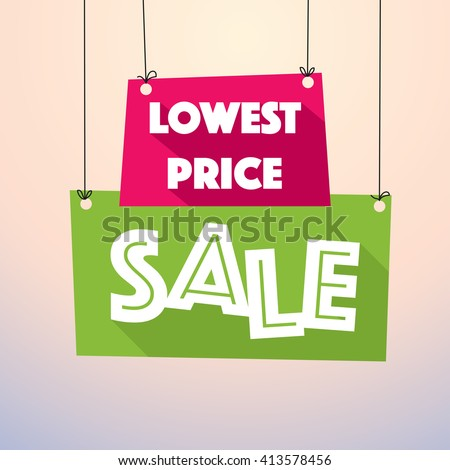 Lowest Price Sale - Colorful Sale Tag - stock vector