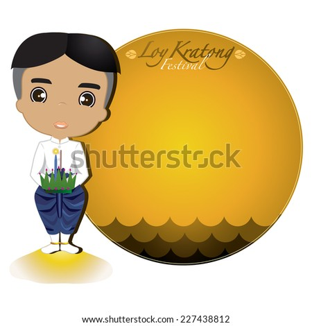 Loy Krathong Festival. Cartoon Thai boy.