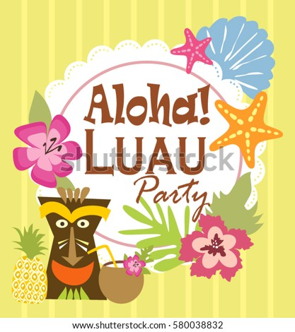 Luau party invitation card stock vector 580038832 shutterstock luau party invitation card stopboris Gallery