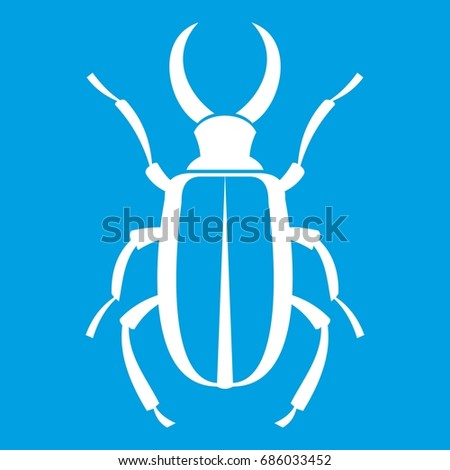 Lucanus cervus icon white isolated on blue background vector illustration