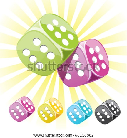 lucky casino dice in different colors. can be used like separate icons. - stock vector