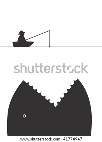 Lucky catch - stock vector