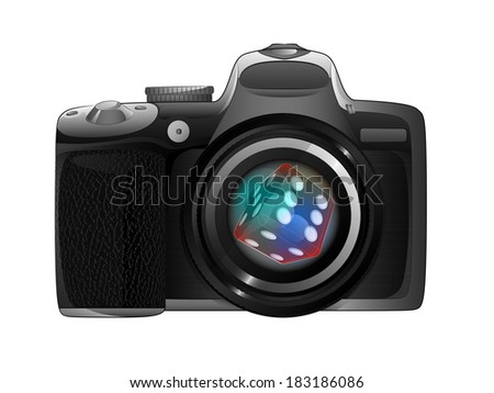 lucky dice in camera focus ready to snapshot isolated vector illustration