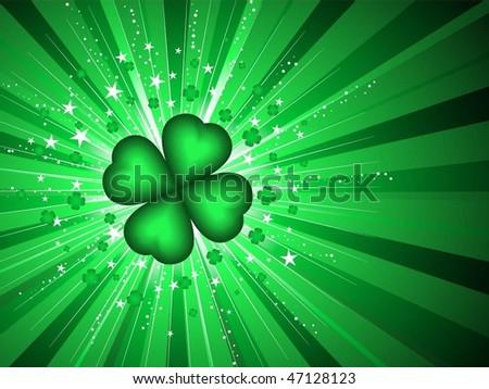 Lucky four leaf clover background - stock vector