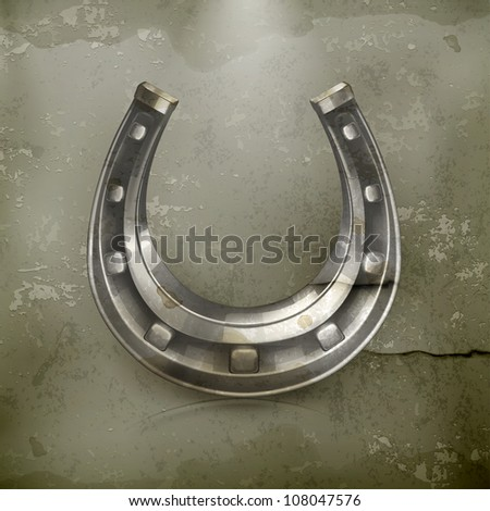 Lucky horseshoe, old-style vector - stock vector