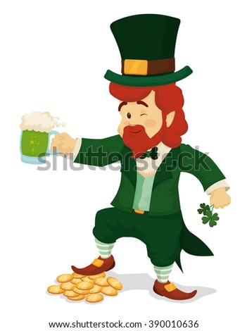 Lucky leprechaun with four-leaf clovers, his new found treasure and limited edition green beer for St. Patrick's Day celebration. - stock vector