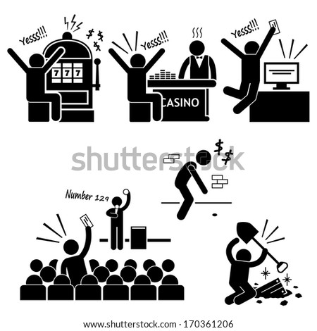 Lucky Man Good Luck People Stick Figure Pictogram Icon - stock vector