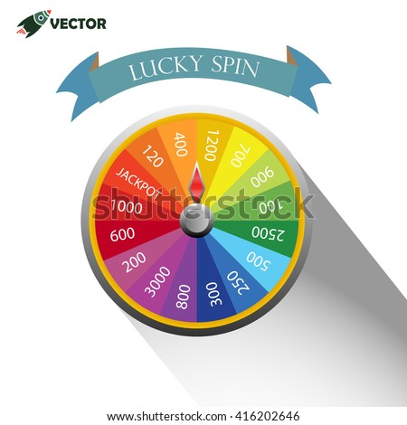 lucky spin and rainbow roulette wheel vector and illustration - stock vector