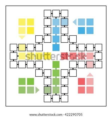 Ludo Game Board Vector Template Family Stock Vector 422290705 ...