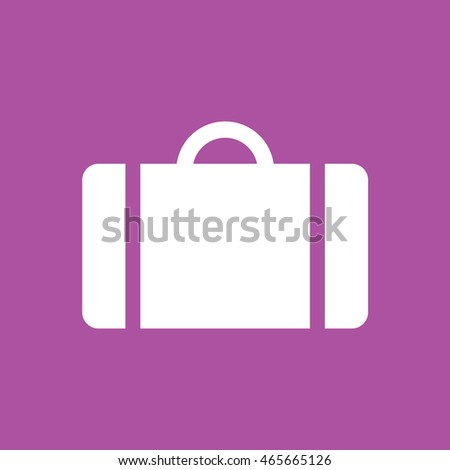Luggage icon vector. Purple background