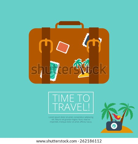 Luggage Leather suitcase  with Travel Sticker in summer. For summer journeys with luggage poster, banners and other designs of the summer holidays. Flier last minute tour  - stock vector