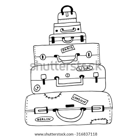 luggage luggages draw drawing drawings element stock vector royalty