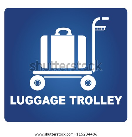 luggage trolley - stock vector