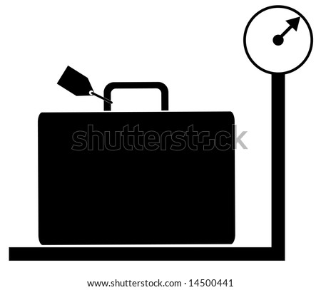 luggage with tag sitting on weigh scales - illustration