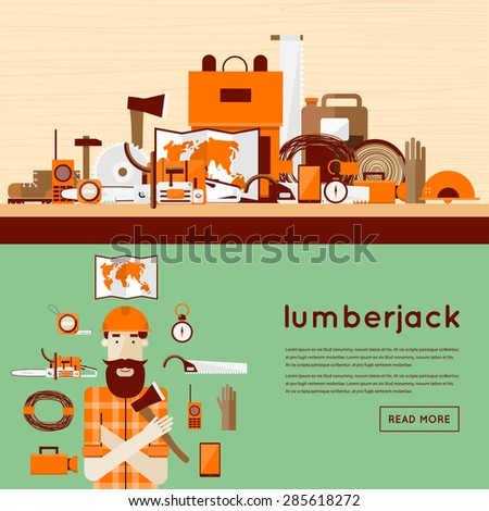 Lumberjack character with tools icons. Flat design vector illustration. - stock vector
