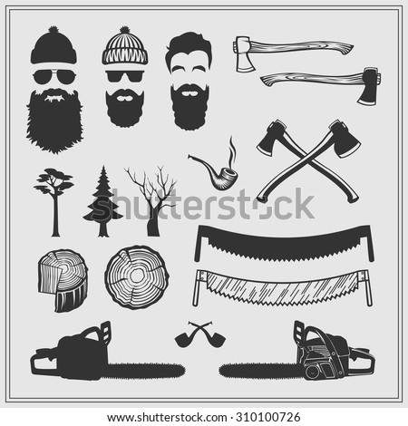Lumberjack characters with tools and attributes set: chainsaws, saws, axes, stamps and trees. The silhouette vector monochrome design. - stock vector