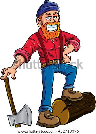 Lumberjack isolated on white background. Lumber axe,