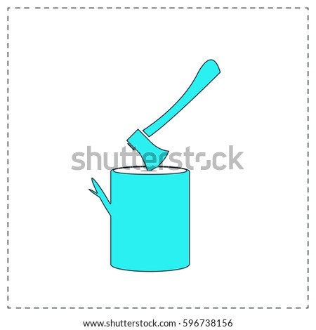 lumberjack Outline vector icon with black editable stroke. Contour line blue pictogram on white background. Flat illustration symbol