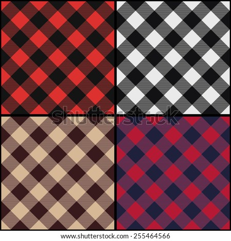 Lumberjack plaid diagonal seamless pattern set. Vector illustration.  - stock vector