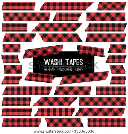 Lumberjack Plaid Red and Black Washi Tape Strips. Semitransparent. Trendy Hipster Style Design Element, Photo Card Embellishment.  Vector EPS File Includes 4 Pattern Swatches made with Global Colors. - stock vector