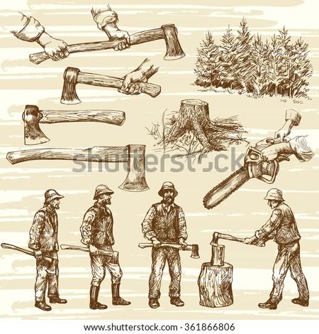 Lumberjacks, cutting wood - hand drawn collection - stock vector