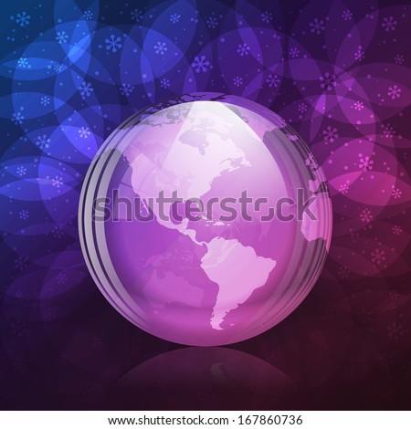 Luminescent snow globe - stock vector