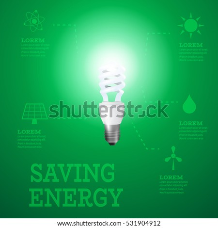 Luminous bulb on green Luminous background with Alternative energy resources logos-solar panel,fusion power,solar electricity,wind turbine,hydro energy with dotted pointers.Saving energy concept