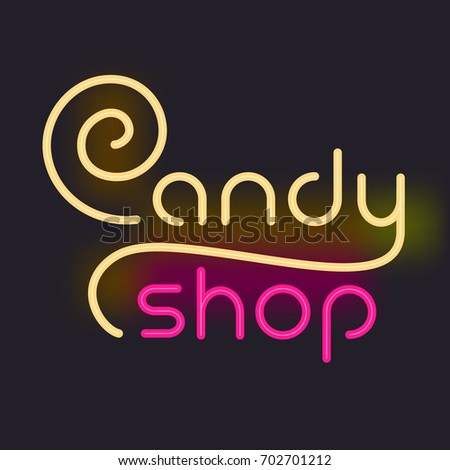 Neon Glowing Set Font Electric Letters Stock Vector #0: stock vector luminous inscription candy shop neon sign on a black background vector illustration