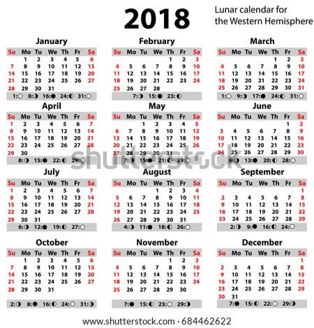 Lunar Calendar 2018 Year Simple Style Stock Vector HD (Royalty