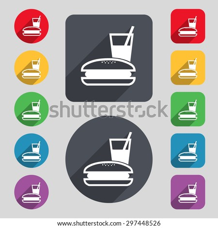 lunch box icon sign. A set of 12 colored buttons and a long shadow. Flat design. Vector illustration - stock vector
