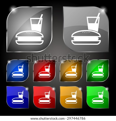 lunch box icon sign. Set of ten colorful buttons with glare. Vector illustration - stock vector