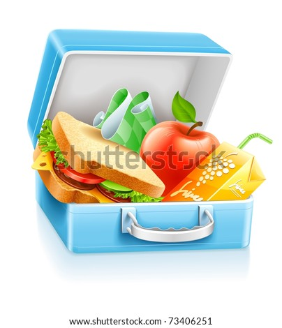 lunch box with sandwich apple and juice vector illustration isolated on white background - stock vector
