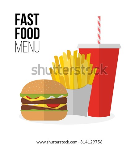 Lunch french fries, burger and soda takeaway isolated on white. Flat design. Fizzy drink, hot dog, cheeseburger, hamburger and other restaurant menu elements. Vector poster of unhealthy fast food