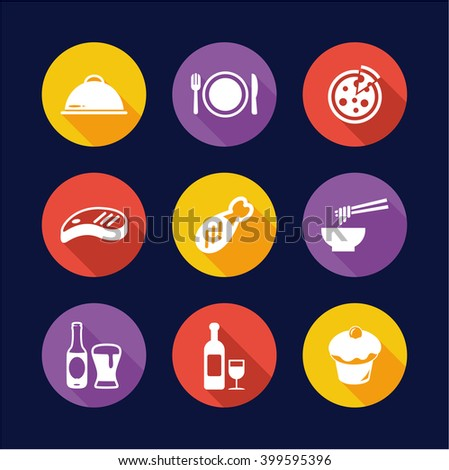 Lunch Icons Flat Design Circle