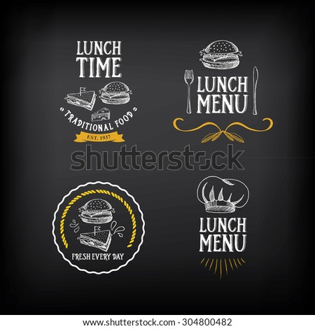 Lunch menu logo and badge design. - stock vector