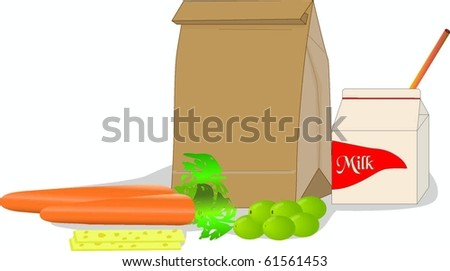 Lunch Time with healthy snacks vector image - stock vector