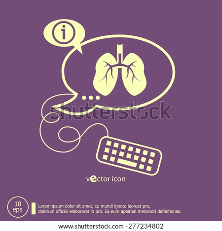 Lung icon and keyboard design elements. Line icons for application development, web page coding and programming, creative process. - stock vector