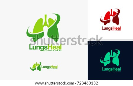 lungs health logo template lung care stock vector 723460132, Powerpoint templates