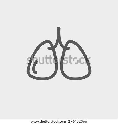 Lungs icon thin line for web and mobile, modern minimalistic flat design. Vector dark grey icon on light grey background. - stock vector