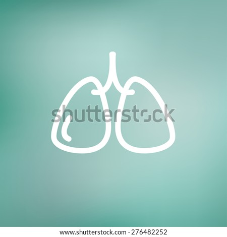 Lungs icon thin line for web and mobile, modern minimalistic flat design. Vector white icon on gradient mesh background. - stock vector